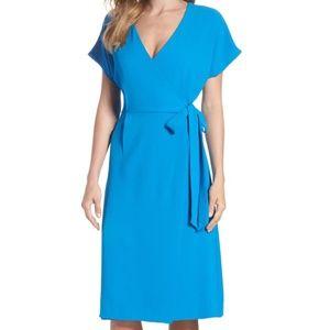 Felicity & Coco Rita Wrap Dress Blue Short Sleeve